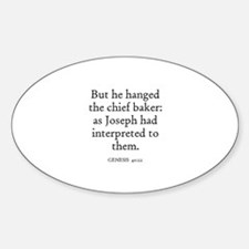 GENESIS 40:22 Oval Decal