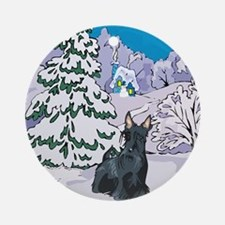 Winter Wonderland Scottie Ornament (Round)