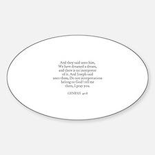 GENESIS 40:8 Oval Decal