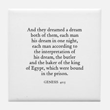 GENESIS  40:5 Tile Coaster