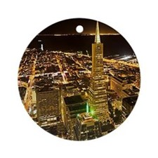 Transamerica Pyramid and Coit Ornament (Round)