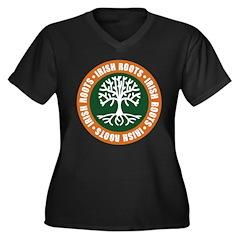 Irish Roots Women's Plus Size V-Neck Dark T-Shirt
