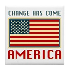 Change Has Come America Obama Tile Coaster