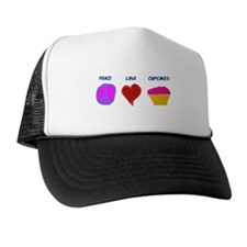 Peace Love Cupcakes Trucker Hat