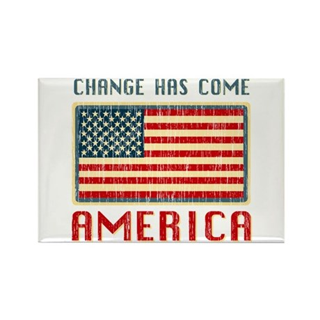 Change Has Come America Distressed Rectangle Magne