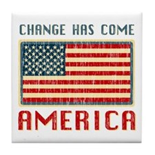 Change Has Come America Distressed Tile Coaster