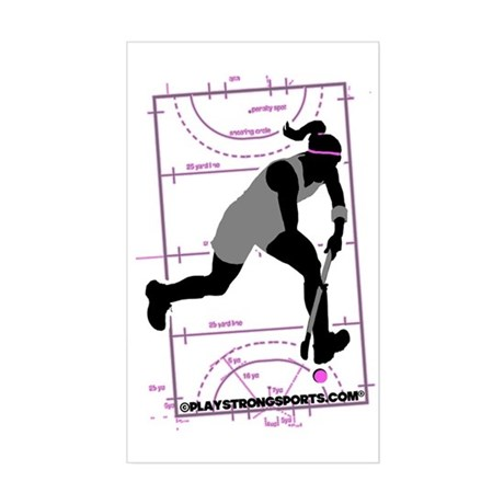 Field Hockey Girl Rectangle Sticker