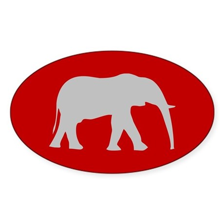 Red/Grey Elephant Oval Sticker