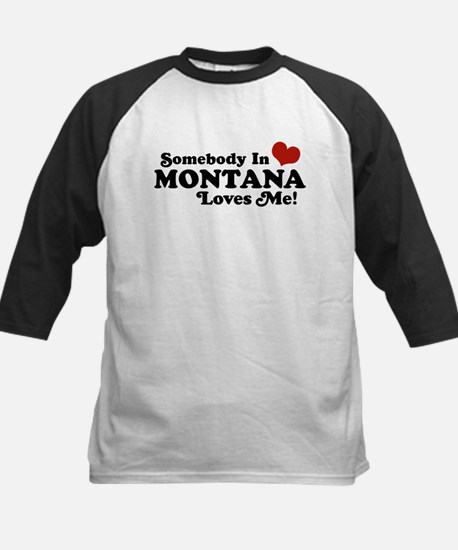 Somebody in Montana Loves Me Kids Baseball Jersey