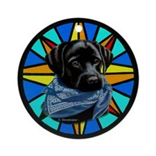Yuppy Puppy on Stained Glass Ornament (Round)