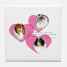 Sheltie Hearts Tile Coaster