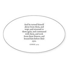 GENESIS 42:24 Oval Decal