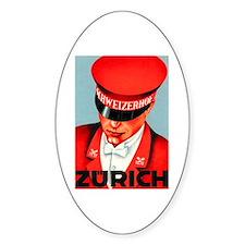Zurich Switzerland Oval Decal