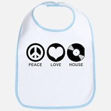 Peace Love House Bib