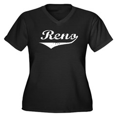 Reno Women's Plus Size V-Neck Dark T-Shirt