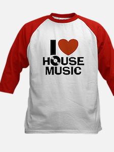 I Love House Music Kids Baseball Jersey
