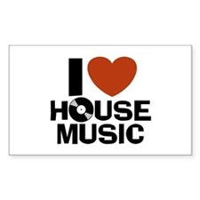 I Love House Music Rectangle Decal