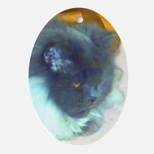 Blue Persian Cat Oval Ornament