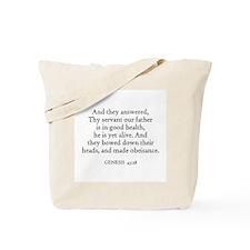 GENESIS  43:28 Tote Bag