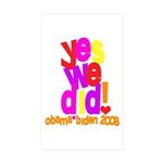 Yes We Did Obama 2008 Rectangle Sticker 10 pk)