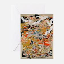LUXURIOUS ANTIQUE JAPANESE KIMONO FO Greeting Card