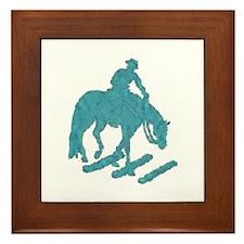 Teal trail horse with poles Framed Tile