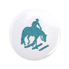 """Teal trail horse with poles 3.5"""" Button"""
