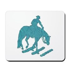 Teal trail horse with poles Mousepad