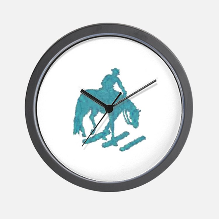 Teal trail horse with poles Wall Clock