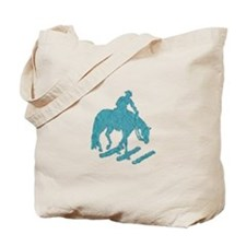 Teal trail horse with poles Tote Bag