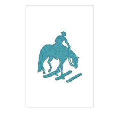 Teal trail horse with poles Postcards (Package of