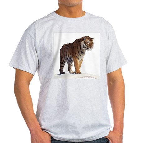 """Tiger in the Snow - B2"" Ash Grey T-Shirt"