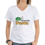 Powered By Pasta Funny Runner Women's V-Neck T-Shi
