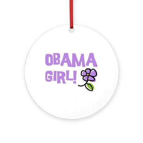 Flower Power Obama Girl Ornament (Round)