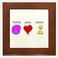Peace Love Ducks Framed Tile
