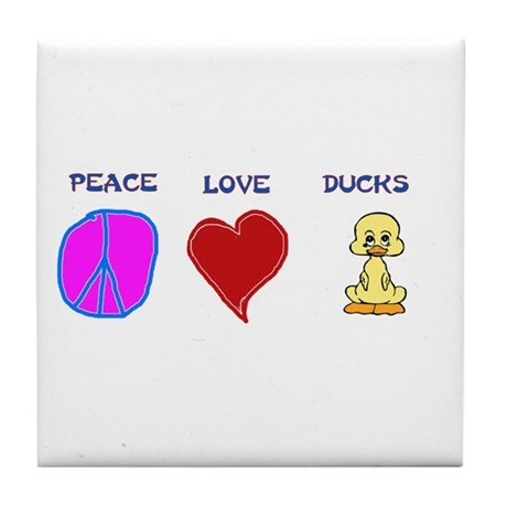 Peace Love Ducks Tile Coaster