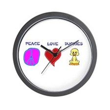 Peace Love duckies Wall Clock