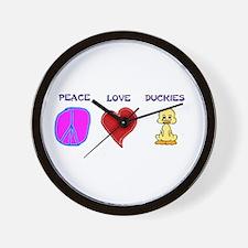 Peace Love duckies Wall Clock