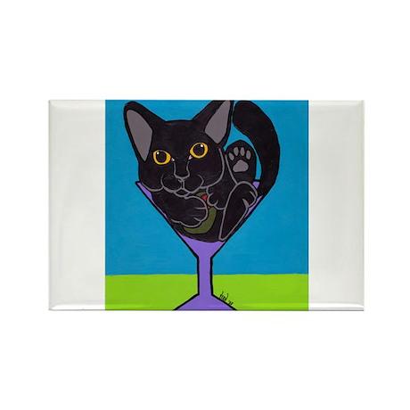 Black Cat Martini Rectangle Magnet
