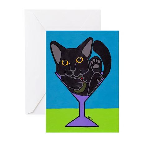 Black Cat Martini Greeting Cards (Pk of 10)