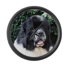 Cute Landseer newfoundlands Large Wall Clock