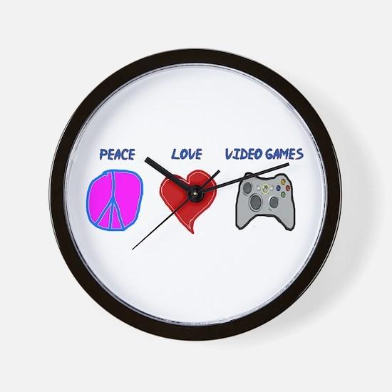 Peace love video games Wall Clock
