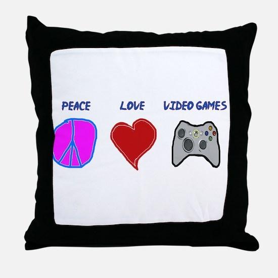 Peace love video games Throw Pillow