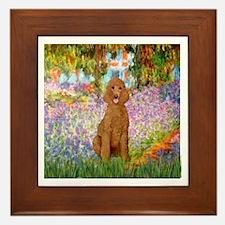 Garden/Std Poodle (apricot) Framed Tile