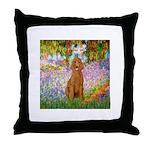 Garden/Std Poodle (apricot) Throw Pillow