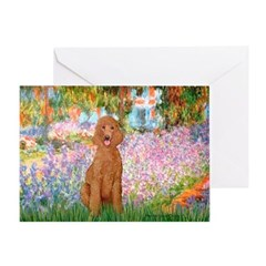 Garden/Std Poodle (apricot) Greeting Card
