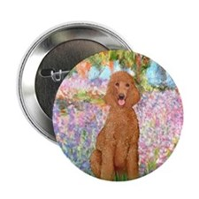 "Garden/Std Poodle (apricot) 2.25"" Button"
