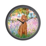 Garden/Std Poodle (apricot) Wall Clock