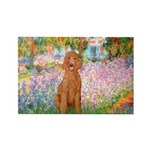 Garden/Std Poodle (apricot) Rectangle Magnet