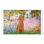 Garden/Std Poodle (apricot) Sticker (Rectangle)